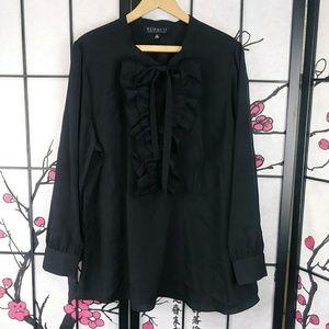 Eloquii Ruffle Peasant Blouse Tie Neck Shirt Black